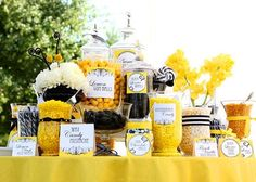 Black, white, and yellow candy display