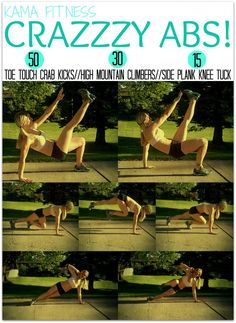 The Workout: 50 Toe Touch Crab Kicks 30 High Mountain Climbers 15 Side Plank Knee Tuck per side ABS Health And Wellness, Health Fitness, Kama Fitness, Pilates, Fitness Tips, Fitness Motivation, Fitness Challenges, Video Sport, Lose Weight