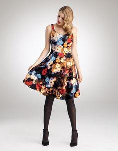 Scuba Full Skirt Dress in Multi by Bravissimo Clothing