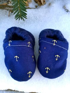 Navy Blue and Gold Anchor Nautical Baby shoes by WithinThePines