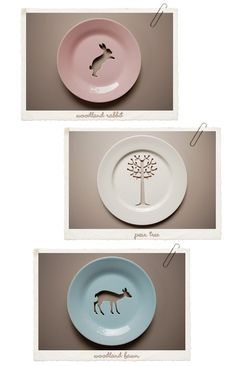 Plates to hang on the walls. I never thought about completely cutting the center. Creative!