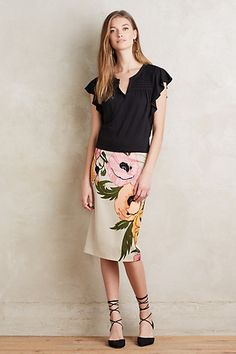 To Amy my stylist, I love this whole outfit!! Calliope Pencil Skirt #anthropologie
