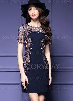 Dresses - $154.55 - Polyester Short Sleeve Above Knee Elegant Lace Embroidery Dresses (1955103410)