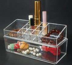 Clear Acrylic Crystal Double deck Cosmetic Organizer Makeup Case Holder Storage Case Jewelry Box Gift-in Cases & Displays from Jewelry on Aliexpress.com