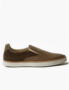 Maison Margiela 22 Men's Grey Leather And Suede Slip-On Sneakers | oki-ni