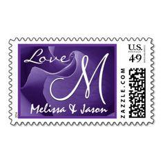ROYAL PURPLE Love Wedding Rose Wedding Monogram Postage Stamp #wedding #stamps #love #marriage #romance #bride #groom #jaclinart #postage #royal #purple #rose #monogram