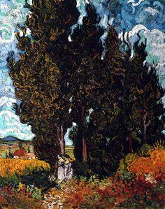 Vincent Van Gogh - Post Impressionism - Saint REMY - Cyprès avec deux femmes - 1889  Be Sure To Visit:  http://universalthroughput.imobileappsys.com/