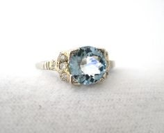 romantic aquamarine engagement ring - Google Search