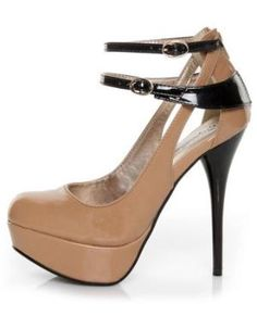 Qupid Neutral 173 Nude Two-Tone Patent Strappy Platform Pumps - $36.00