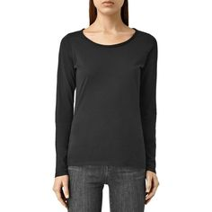 Allsaints Vetten Long-Sleeve Tee (£53) ❤ liked on Polyvore featuring tops, t-shirts, black, longsleeve t shirts, allsaints, long sleeve tees, long sleeve tops and cotton jersey