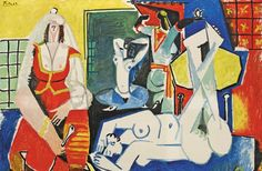 "Women of Algiers (After Delacroix), by Pablo Picasso, January 26, 1955 ""The Picasso Variations""  How the painter's late work veers from sloppy to the sublime.  By Barry Schwabsky ~ The Nation Magazine."