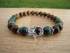 Hamsa Bracelet, Tiger Eye Bracelet, Azurite Malachite Beaded Bracelet, Charm Bracelet, Spiritual Yoga Mala Bracelet, Protective Bracelet