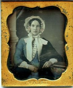 A-1-6-plate-daguerreotype-by-WALSH-of-a-stylish-lady-in-a-blue-dress-and-bonnet