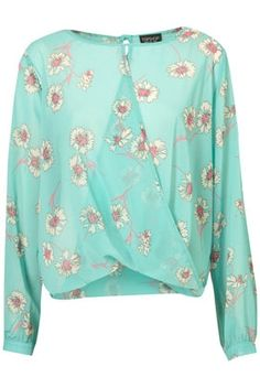 Bright Pansy Drape Front Blouse - StyleSays