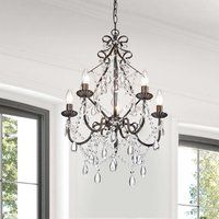 Shop for Bethany Iron and Crystal Candle Chandelier. Get free delivery On EVERYTHING* Overstock - Your Online Ceiling Lighting Store! Get in rewards with Club O! 3 Light Chandelier, Bronze Chandelier, Candle Chandelier, Candelabra Bulbs, Chandelier Bedroom, Stairwell Chandelier, Dining Table Chandelier, Country Chandelier, Cheap Chandelier