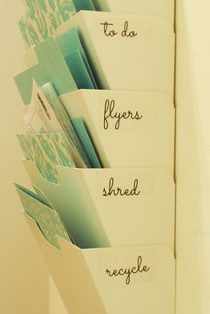 Ikea Hack: Mail Sorter - add a school papers file folder. Organize the paper clutter.