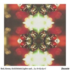Red, Green, Gold Bokeh Lights and Ornaments #christmas Fabric @artbyapril1