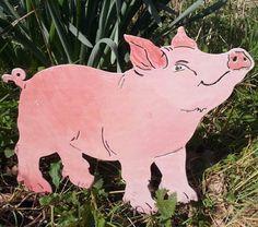 ... Gartenstecker / Beetstecker Schwein Angelo / Tier Skulptur / Kunstvoll  Bunt Bemalt / Beidseitiges Motiv /schweres Hochwertiges Material Aus Metall  ...