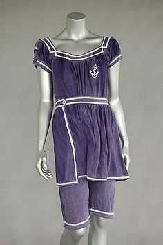Sailor-style swimming suit of navy knitted cotton, circa 1915.