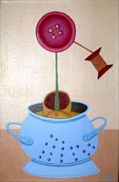 Flor de botón maduro. Grown up button flower. Acrylic on canvas RUFER