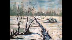Acrylic painting tutorial Winter Snow Scene Landscape Big canvas