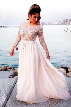 Unique Scoop Long SleevesChiffon Pearl Pink Beading Plus Size Prom Dress