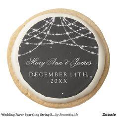Wedding Favor Sparkling String Black Round Shortbread Cookie