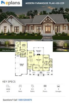 Take a look at this NEW modern farmhouse plan. It sports an open floor plan and smart details. Family House Plans, Ranch House Plans, Craftsman House Plans, New House Plans, Dream House Plans, 2200 Sq Ft House Plans, Modern Farmhouse Exterior, Farmhouse Style, Farmhouse Design