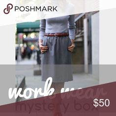 work wear mystery box Work Wear Mystery Box. This SIZE 4/SMALL mystery box includes 4 items: 1 dress + 1 blouse + 1 sweater + 1 accessory, as well as 1-2 extras. Brands may include J Crew, Banana Republic, GAP. Price firm. / mystery, surprise, bundle / Other