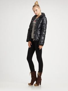 Marc By Marc Jacobs Down Puffer Short Coat in Black