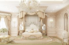 Delightful Master Bedroom Design in Dubai. Our expertise will give your Master Bedroom a creative look with the bespoke design. Chic Master Bedroom, Royal Bedroom, Master Bedroom Design, Trendy Bedroom, Modern Bedroom, Dream Rooms, Dream Bedroom, Princess Bedrooms, Luxury Bedroom Design