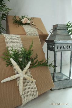 Hessian and brown paper wrapped items adorned with coastal accessories made a great presentation for gifts or look very distinctive as part of a display.