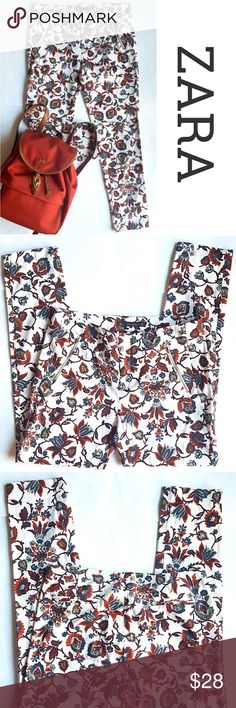 """Flowery Skinny Pants Super flirty pants, perfect for summer. Zipper closure,  zippered faux pockets on the sides, two faux pockets on the back.  Have a good stretch. 15.5"""" waist,  9"""" rise, 27"""" inseam. In great preloved condition. Zara Pants Ankle & Cropped"""