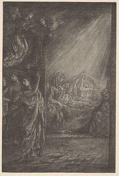 The Nativity  John La Farge wood engraving on japan tissue