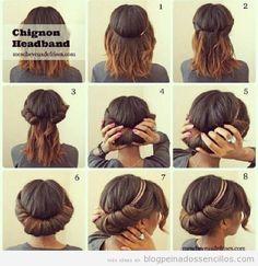 Un peinado sencillo de hacer con el cabello a la altura de los hombros con la ayuda de una liga-diademada :3