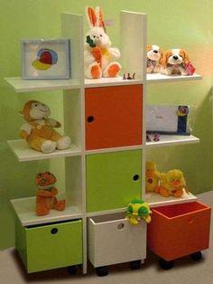 Método Montessori: fotos ideas para decorar habitación niños - Mueble con cajones y para juguetes Montessori
