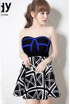 1967a294282 Charming Look Flag Printed Bare Shoulder Backless Tube Dress Korean Fashion  Fall