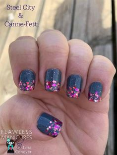 Feb 2019 - Steel City with Canne-Fetti overlay. Color Street is a Nail Polish strip with no dry time or tools Necessary to apply. Last 7 to 12 days. Glitter Acrylics, Acrylic Nails, Dark Pink Nails, Holiday Nail Art, New Cosmetics, Sparkle Nails, Nail Polish Strips, Color Street Nails, Nail Art Galleries
