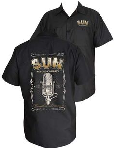 Sun Records- Color Logo on front, Microphone on back on a black short sleeve work shirt by Steady Clothing