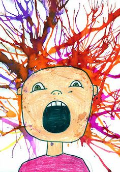 "Squarehead Teachers: Fun Halloween Art/Craft Projects for Kids (Blow art kids version of artist Edvard Munch's ""The Scream"")"