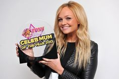 """I'm delighted to announce that the gorgeous Emma Bunton has won by Celebrity Mum of the Year 2013 award. Here she is scooping up the trophy at Heart 106.2 this morning! Emma told me; """"I couldn't ask for more this Mother's Day than to have my two boys around me and this award on my mantelpiece!"""" ahhhhhh"""