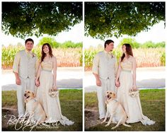 Love this bride & groom! DIY wedding. Yellow wedding dress! Their sweet dog,  Elly was the flower girl/ ring holder!