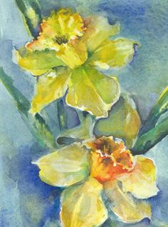 Criss Cross Daffodils Original Watercolor Painting by by arttarte9, $112.50