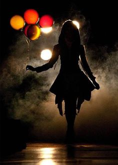 silhouette portrait - the splash of color is a genius idea. a silhouette in darkness - AWESOME! Night Photography, White Photography, Portrait Photography, Balloons Photography, Street Photography, Sad Girl Photography, Creepy Photography, Carnival Photography, Art Photography Women