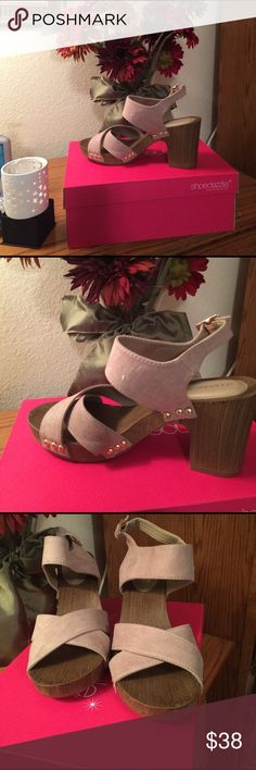 """🌷 Taupe Heeled Sandal with strap to buckle ankle Taupe """" Ruthie"""" Heel by Shoedazzle 👠 US 7.5 Block Heel Gold Tone Decor around Heel ~ Worn once ~ Excellent Condition in Box 👠 Shoe Dazzle Shoes Heels"""