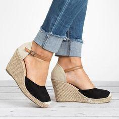Plus Size Wedges Ankle Strap Espadrilles Wedges Sandals - gifthershoes Ankle Strap Heels, Ankle Straps, Wedge Sandals, Shoes Heels, Espadrille Sandals, Espadrille Wedges Closed Toe, Strap Sandals, Wedges Outfit, Espadrilles Outfit