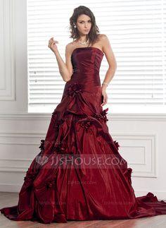Wedding Dresses - $237.99 - Ball-Gown Strapless Chapel Train Taffeta Wedding Dress With Ruffle Flower(s) (002000481) http://jjshouse.com/Ball-Gown-Strapless-Chapel-Train-Taffeta-Wedding-Dress-With-Ruffle-Flower-S-002000481-g481
