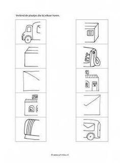 Werkblad postbode - Helften Post Office, Kindergarten, Homeschool, Teaching, Activities, Education, Coloring, Classroom, Logo
