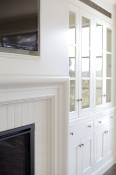 Fireplace Built In Cabinets - Design photos, ideas and inspiration. Amazing gallery of interior design and decorating ideas of Fireplace Built In Cabinets in living rooms, dining rooms by elite interior designers. Craftsman Fireplace, Fireplace Built Ins, Brick Fireplace, Fireplace Surrounds, Fireplace Design, Fireplace Remodel, Fireplace Ideas, Fireplace Molding, Fireplace Glass