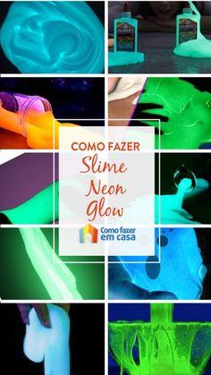 Como fazer slime neon ou glow   Como fazer em casa Neon, Crafts, Craft Ideas, Diy Home, Good Ideas, Homemade, Ink, Neon Tetra, Crafting